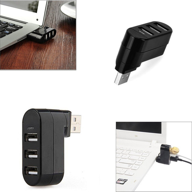 BinFul Rotatable High Speed 3 Ports USB HUB 2.0 USB Splitter Adapter for Notebook/Tablet Computer PC Peripherals