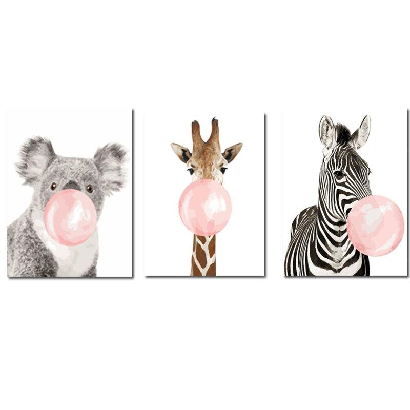 CHENISTORY 60x75cm Rahmen Diy Malen Nach Zahlen Kit Tier Zebra Wand Kunst Bild Durch Zahlen Färbung Durch zahlen Für Wohnkultur