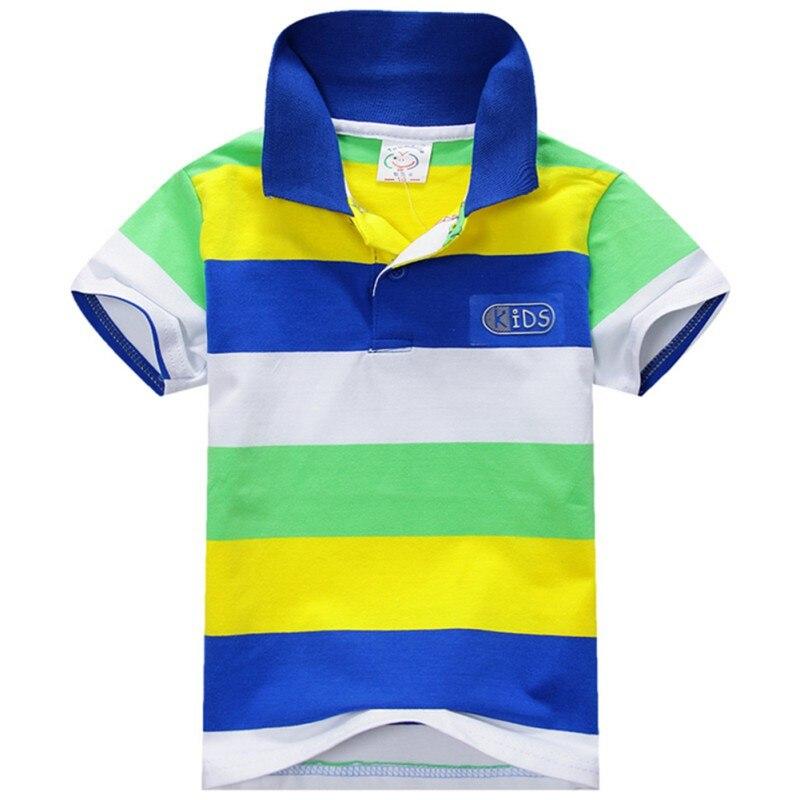 Zomer Modus Stijl Kids Baby Jongens Katoen Gestreepte T-shirt Multi Kleur Korte Mouw Top S-XXL