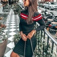 BeAvant Striped knit women winter dress 2018 Bodycon long sleeve knitted dress female Casual black sweater dress autumn vestidos