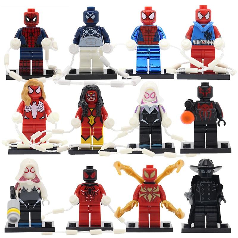 Super Heroes Spider Man Building Blocks DIY Scarlet Spider-Woman Vulture Toys For Children Space Spider-man Chrome Kids Gifts spider man toys 2002