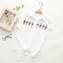 Summer Short Sleeve Cotton Linen Blouse Loose Cool Tops 2017 Funny Character Embroidery Blouses Women Irregular Hem White Shirts