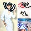 Полосатый Летом Вс Шляпы для Женщин Мода Открытый Большой Пляж Соломенная Шляпа 2015 Новые Случайные женщины Caps
