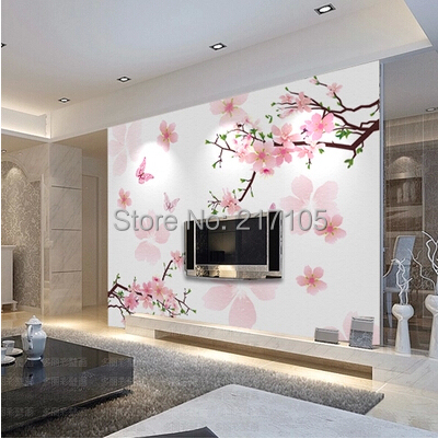 Free shipping large murals TV setting wall paper of sitting room ...