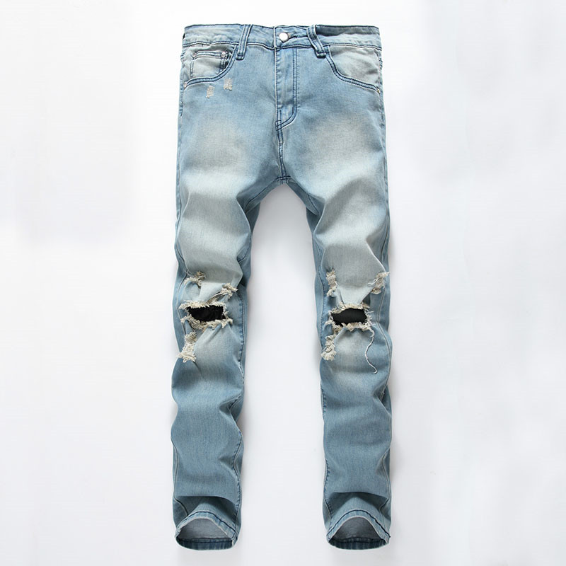 Fashion Men`s Skinny Jeans Washed Vintage Faded Ripped Distressed Slim Fit Stretchy Jegging Denim Pants Jeans With Big Hole men distressed knee holed jeans vintage enzyme washed male ripped denim pants slim fit korean fashion kpop broken jeans