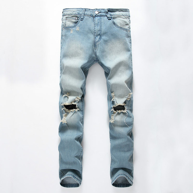 7d444af5 Fashion Men`s Skinny Jeans Washed Vintage Faded Ripped Distressed Slim Fit  Stretchy Jegging Denim