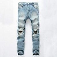 Moda męska Ripped Skinny Jeans Washed Vintage Wyblakłe Udzielenie Jegging Spodnie Denim Jeans Slim Fit Rozciągliwa Z Dużym Otworem