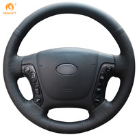 Steering Wheel Cover For Hyundai Santa Fe 2006 2012 Car Special Hand Stitched Black Leather Covers