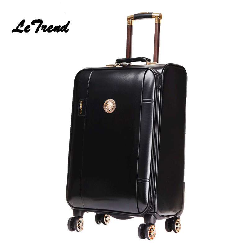 Letrend Business Leather Rolling Luggage Spinner Wheels Suitcases Men Trolley PU Korean Trunk Cabin Luggage Women Travel Bag 20'
