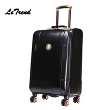 Letrend Business Leather Rolling Luggage Spinner Wheels Suitcases Men Trolley PU Korean Trunk Cabin Luggage Women Travel Bag 20′