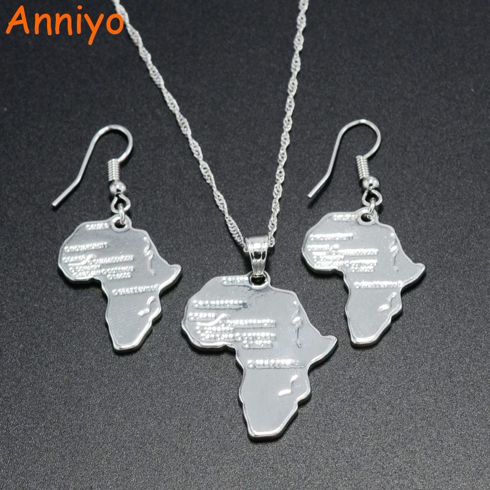 Anniyo Africa Map Pendant Necklaces Earrings Silver Color Ethiopia Jewelry Women,African Maps set #047906