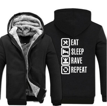 Eat Sleep Rave Repeat Game Hoodies Mens 2019 Winter Fleece Sweatshirt Fashion Men Thicken Coat Plus Size Jacket