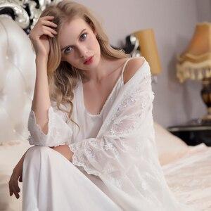 Image 4 - ローブ女性のレースエレガントなローブセット女性刺繍パジャマツーピースためバスローブスーツホット販売