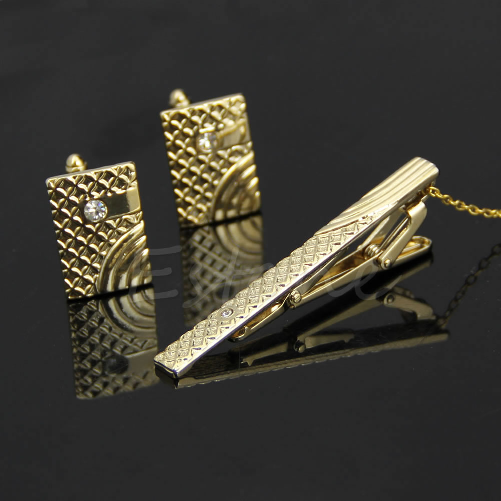 Fashion Men Gold Metal Necktie Tie Bar Clasp Clip Cufflinks Sets Simple Gift New