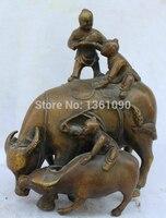 """Xd 00645 8 """"Chiny Feng Shui Miedzi Zodiaku Rok Bull Oxen Matka Syn Chłopiec Statua Rzeźby w Posągi i rzeźby od Dom i ogród na"""