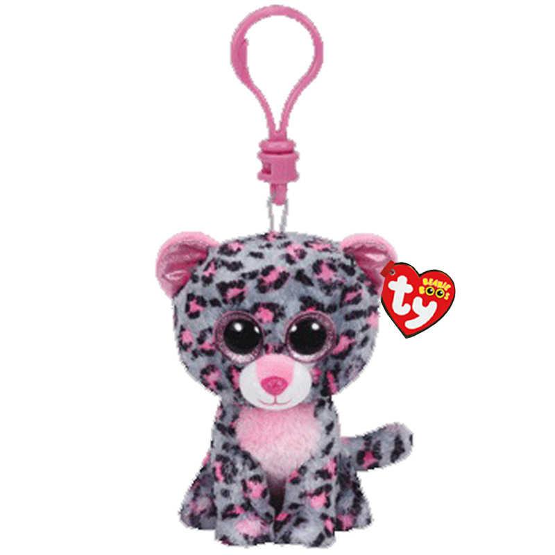 Ty grandes olhos de pelúcia tasha o cinza roxo leopardo chaveiro brinquedo 10cm