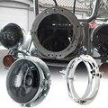 """Conjunto de Negro Ronda 7 """"LED Faro Proyector Con Soporte De Montaje de Hierro de Plata Anillo para Harley Davidson"""