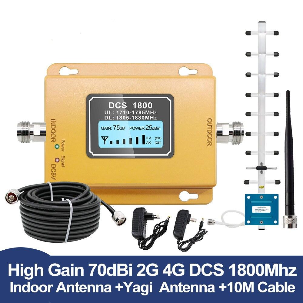 GSM LTE 1800 LCD 70dB Gain 2g 4g répéteur de Signal de téléphone portable DCS 1800 MHz amplificateur de Signal Mobile GSM avec ensemble d'antenne