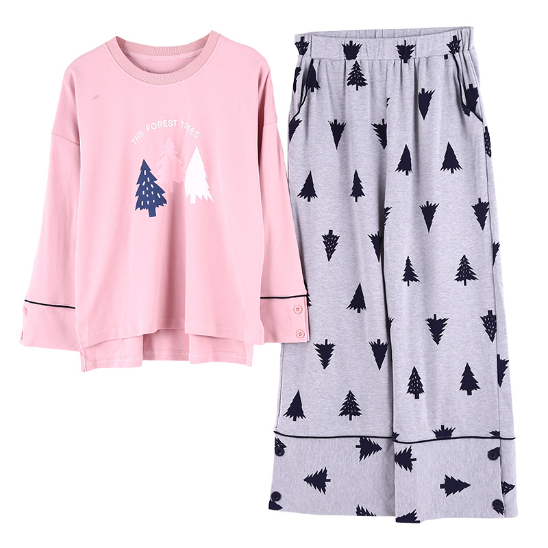 Womens O-Neck Cotton Long Sleeve Pajama Sets Women Sleepwear Suit 2 Piece Sexy Spring Home Lounge Gift