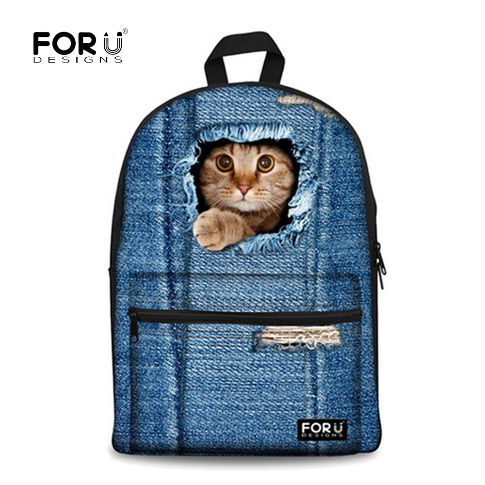 """FORUDESIGNS """"Backpack"""" paaugliams Merginos Gyvūnai Mielos katės spausdinimas Vaikai Mokyklos kuprinė Vaikai Moterys Kasdienės kelionės kuprinės"""