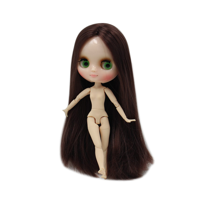 Factory Blyth Doll Middle Blyth 20cm Nude Dol Long Brown Straight Hair Joint Body Eyes Can Move