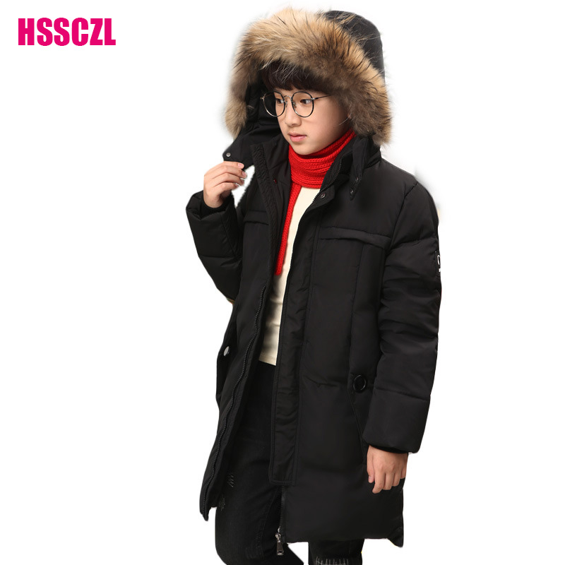 HSSCZL Boys Down Jackets 2017 Brand winter Thicken Long Big Boy Down Coat Children Outerwear Overcoat Hooded Collar Parkas 7-16A 2015 new hot winter thicken warm woman down jacket coat parkas outerwear hooded splice mid long plus size 3xxxl luxury cold