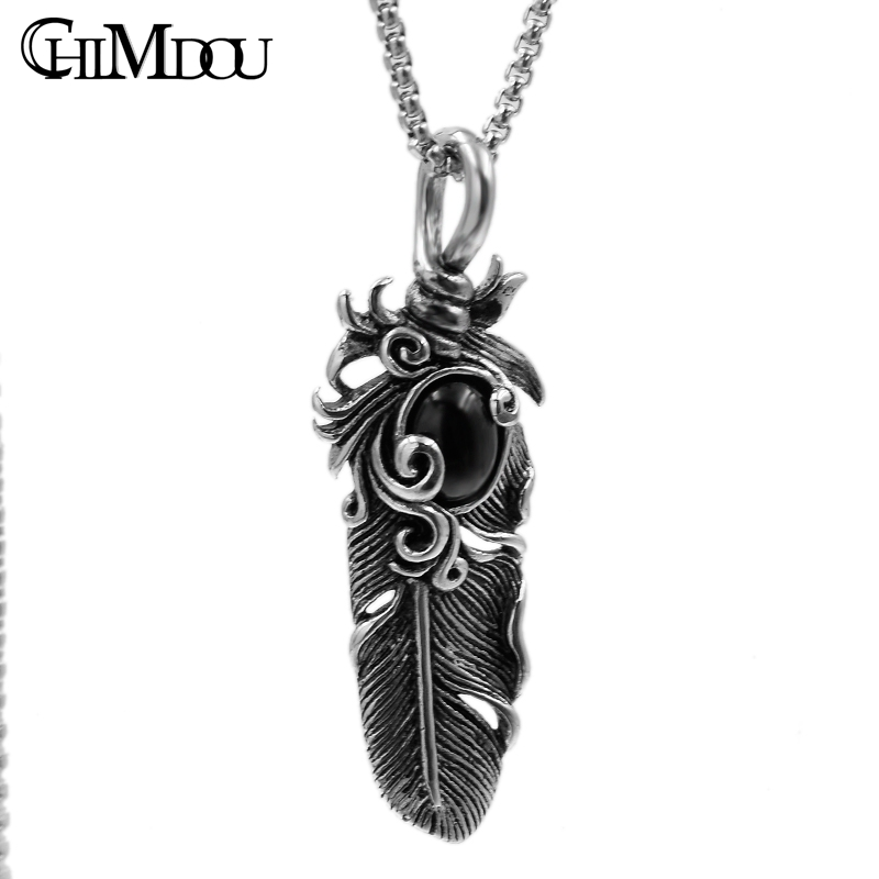 CHIMDOU Anniversary summer Fashion Men Stainless Steel Silver Color Noble feather pendant P1196