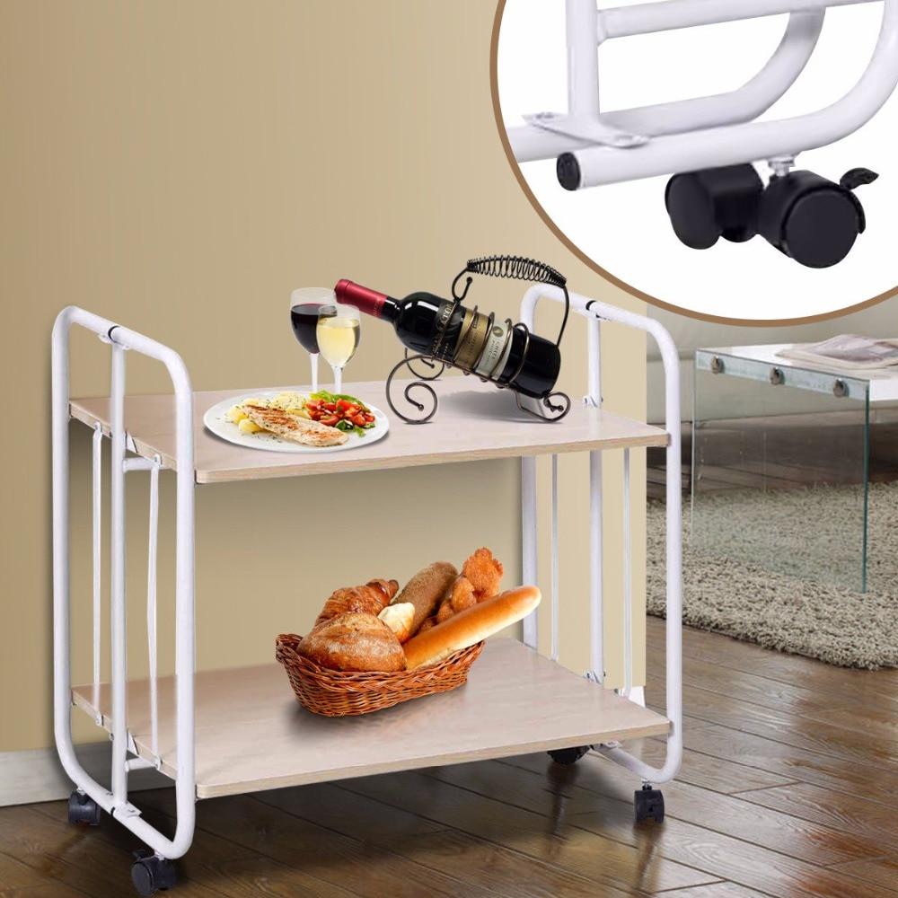 все цены на Giantex 2 Tier Folding Rolling Serving Cart Utility Steel Cart Shelves Kitchen Storage Home Furniture HW56264 онлайн