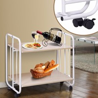 Giantex 2 Tier Folding Rolling Serving Cart Utility Steel Cart Shelves Kitchen Storage Home Furniture HW56264