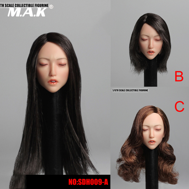 """1/6 Scale Accessory Asian Beauty Female Head Carved Sexy Sleep Girl Head Sculpt Sleeping Model for 12"""" Pale Action Figure Body"""