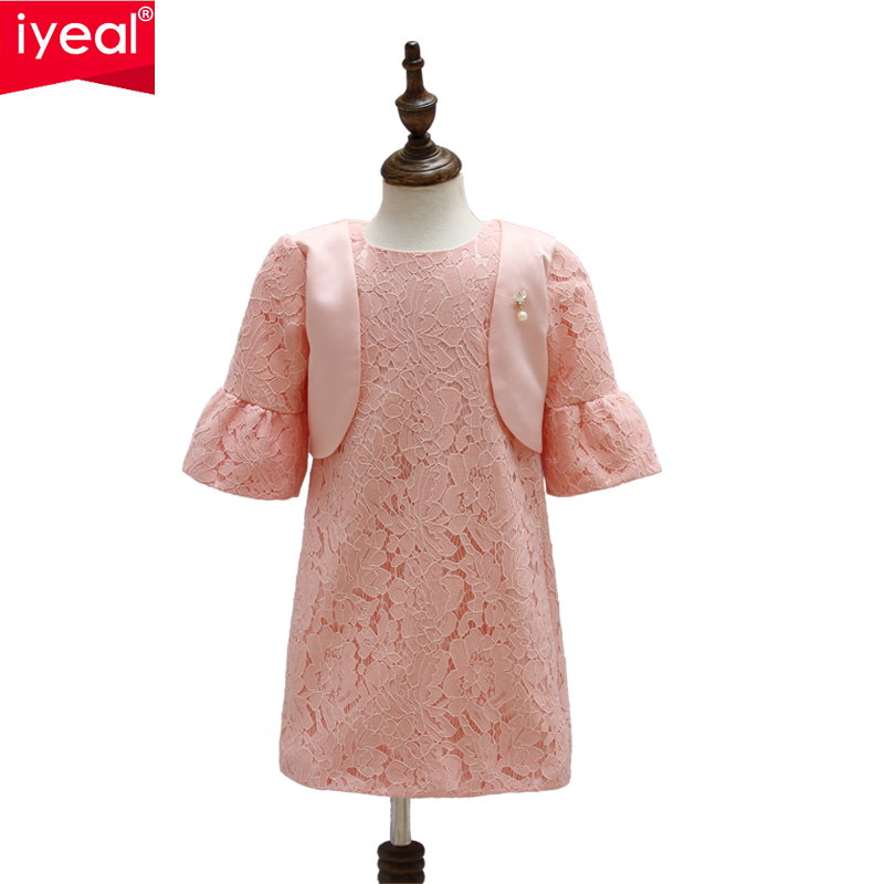 IYEAL Girl Dress Princess Kids Clothes 2017 Brand Lace Baby Dresses With Jacket 4 Seasons Flower Girl Party Children Clothing baby girls white dresses for wedding and party wear girl princess dress kids lace clothes children costume age 3 4 5 6 7 8 9 10