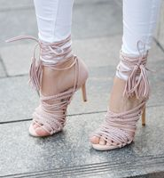 Eelegant girl's pink suede high heeled sandals fashionable narrow band weave braid design ankle lace up tassels pumps