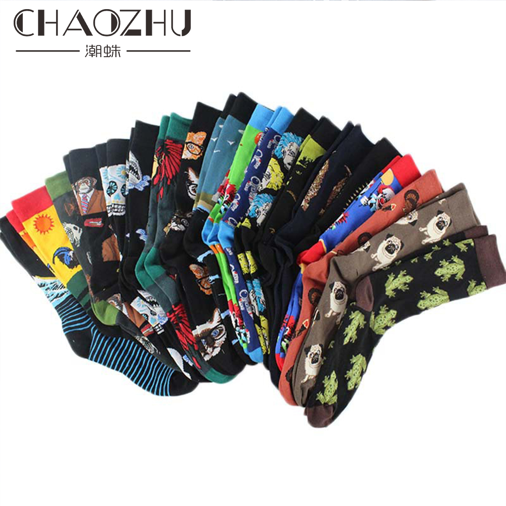 2019 New Fashion Men's Sneaker Hip Hop Swag Crew Socks 22 Patterns Cartoon Aesthetic Grunge Mona Lisa/Owl/Einstein/Frog/Pug