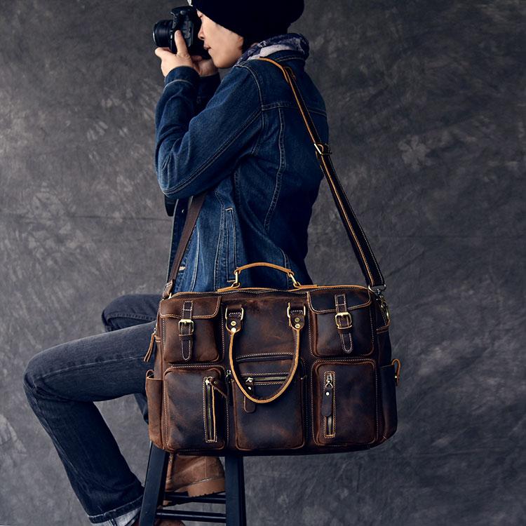 Genuine Leather Mens Bags Travel Tote Bags Men's Multiple pockets Travel Duffle Laptop Large Capacity Bag Men's shoulder bag pockets hooded duffle coat