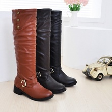 New Low With High Boots Round Head Socket Foreign Trade Leisure Big Yards Female Boots  BAOK-b474