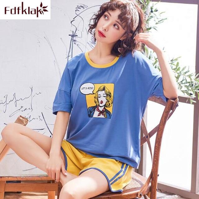 6b8f5e02707c Fdfklak pijama de algodón alta calidad conjunto pijamas manga corta para  estudiantes dibujos animados lindo niña