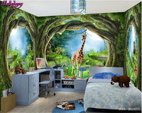 Beibehang Wallpaper For Walls 3 D Any Size 3D Dream Wallpaper Forest Tree Animal House Theme