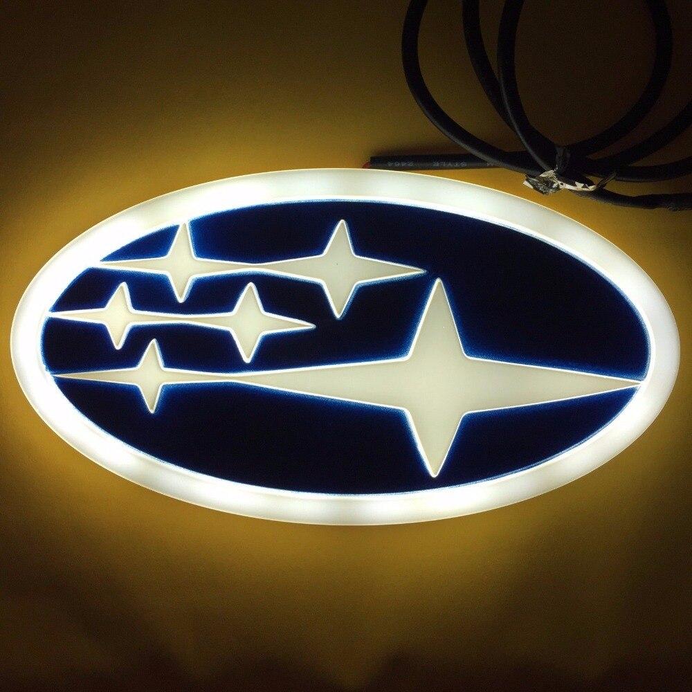 4d Led Car Tail Logo Auto Badge Light White Light For Subaru