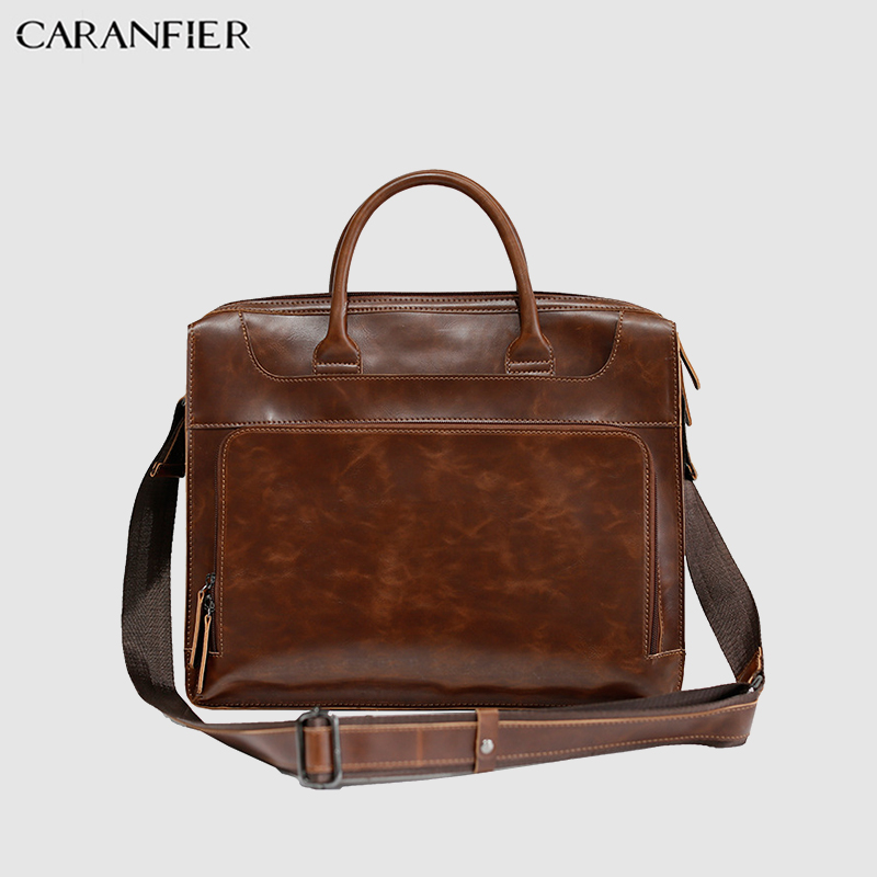 CARANFIER Mens Briefcase Travel Shoulder Pack PU Leather Leisure Large Capacity Laptop Bags Business Luxury Crazy Horse Handbags