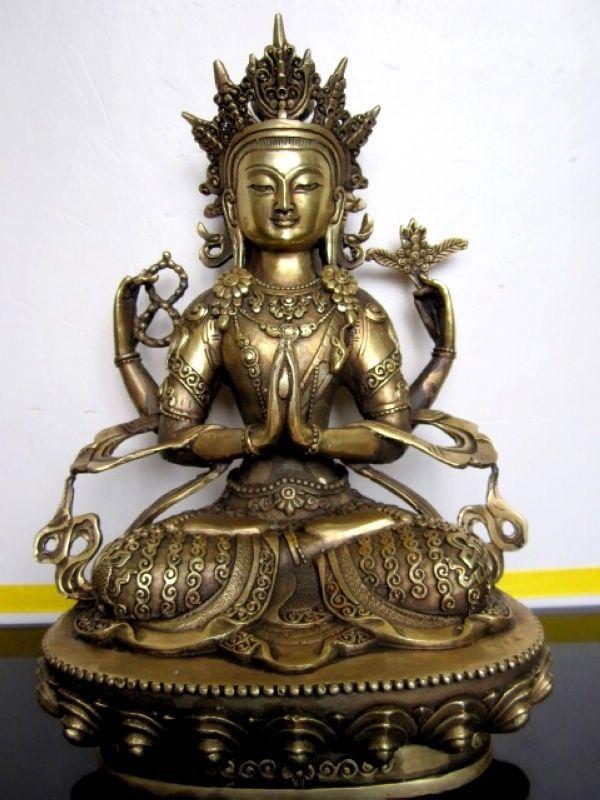 bi001405 Tibetan Eight auspicious Four-armed guanyin bronze buddha statue 28cmbi001405 Tibetan Eight auspicious Four-armed guanyin bronze buddha statue 28cm