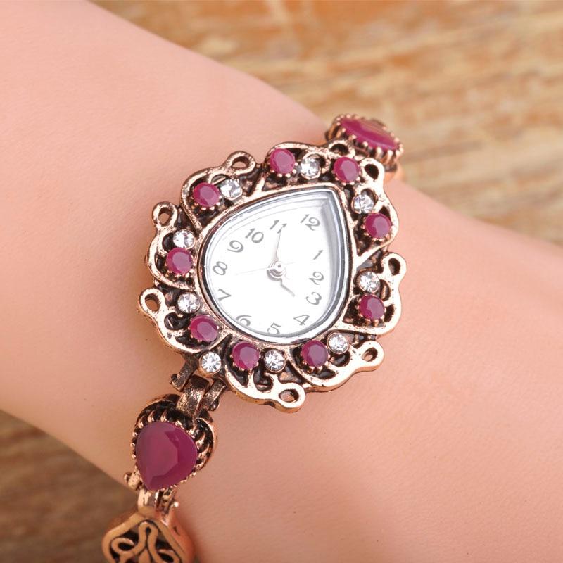 Blucome New Resin Water Drop Shaped Bracelets Watch Women Clock Quartz Watches Vintage Turkish Wristwatch Hand Jewelry Gifts