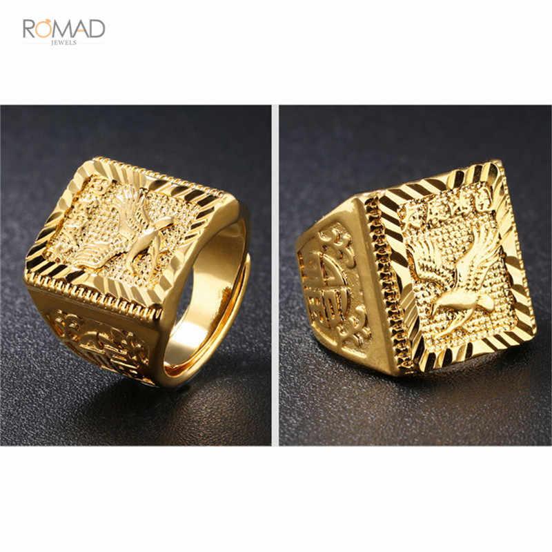 Romad Punk Rock แหวนผู้ชาย Luxury Engagement แหวนปรับขนาดได้แหวนแฟชั่นเครื่องประดับของขวัญ anillo hombre 2019 W3