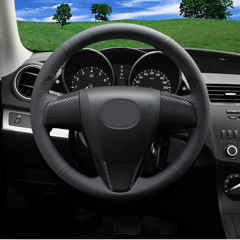 Car Styling New Anti Slip Black PU Leather Steering Wheel Stitch on Wrap Cover For Mazda 3 2011