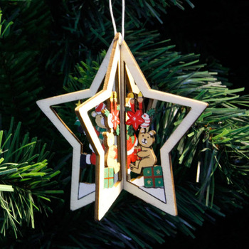 1PC New Christmas Tree Ornaments Hanging Xmas Tree Home Party Decor 3D Pendants High Quality Wooden Pendant Decoration Color 1