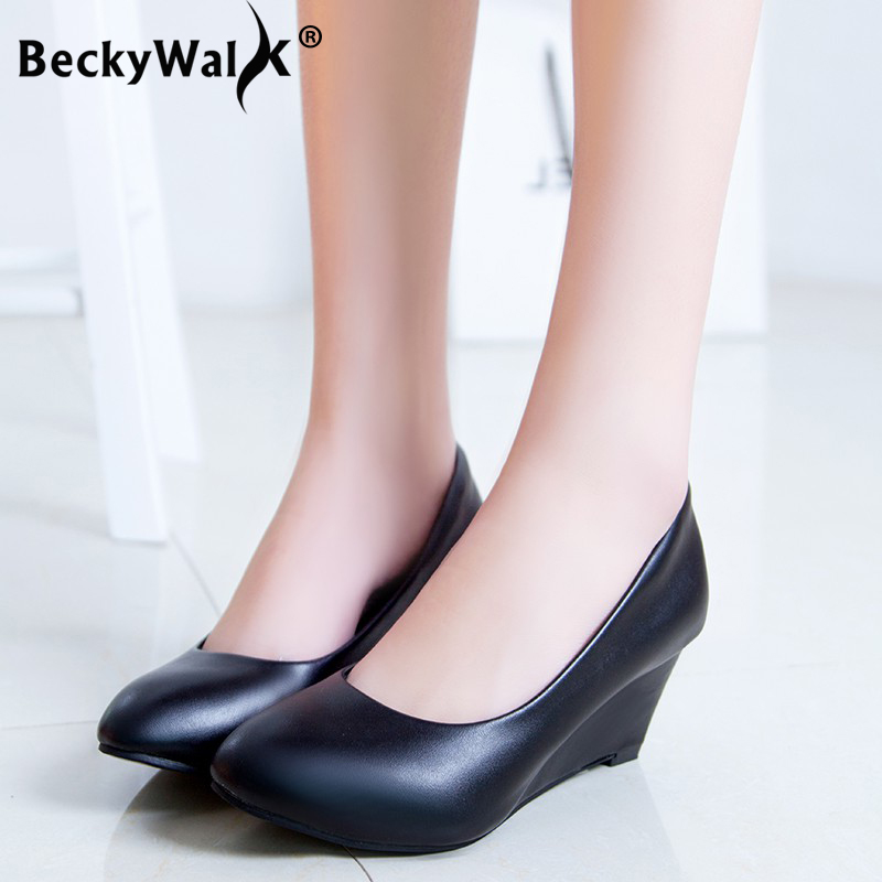 Spring Autumn Women Shoes Wedge Ladies Round Toe Medium Heels Pumps Shoes Woman Slip On Casual Black White Tacones Mujer WSH3181