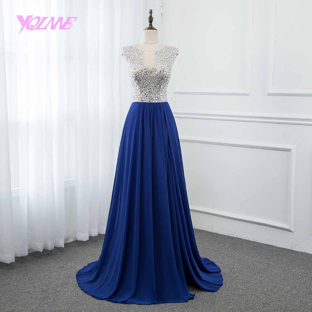 YQLNNE Royal Blue Crystals Long   Prom     Dresses   2018 Chiffon Split Left See Through Back Vestido de Festa
