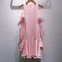 2019 летнее женское Высокое качество шелковое платье розовое с открытыми плечами гофрированное с длинными рукавами свободное атласное плать