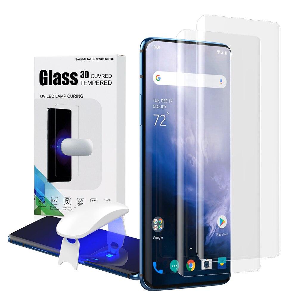 Protetor de tela com desbloqueio de impressão digital para Oneplus 7 Pro UV capa para Oneplus 7 Pro vidro temperado filme De Vidro cheio