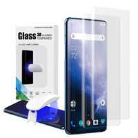 Protezione dello schermo con lettore di impronte digitali di sblocco per Oneplus 7 Pro UV di Vetro pellicola della copertura completa per Oneplus 7T Pro temperato di vetro