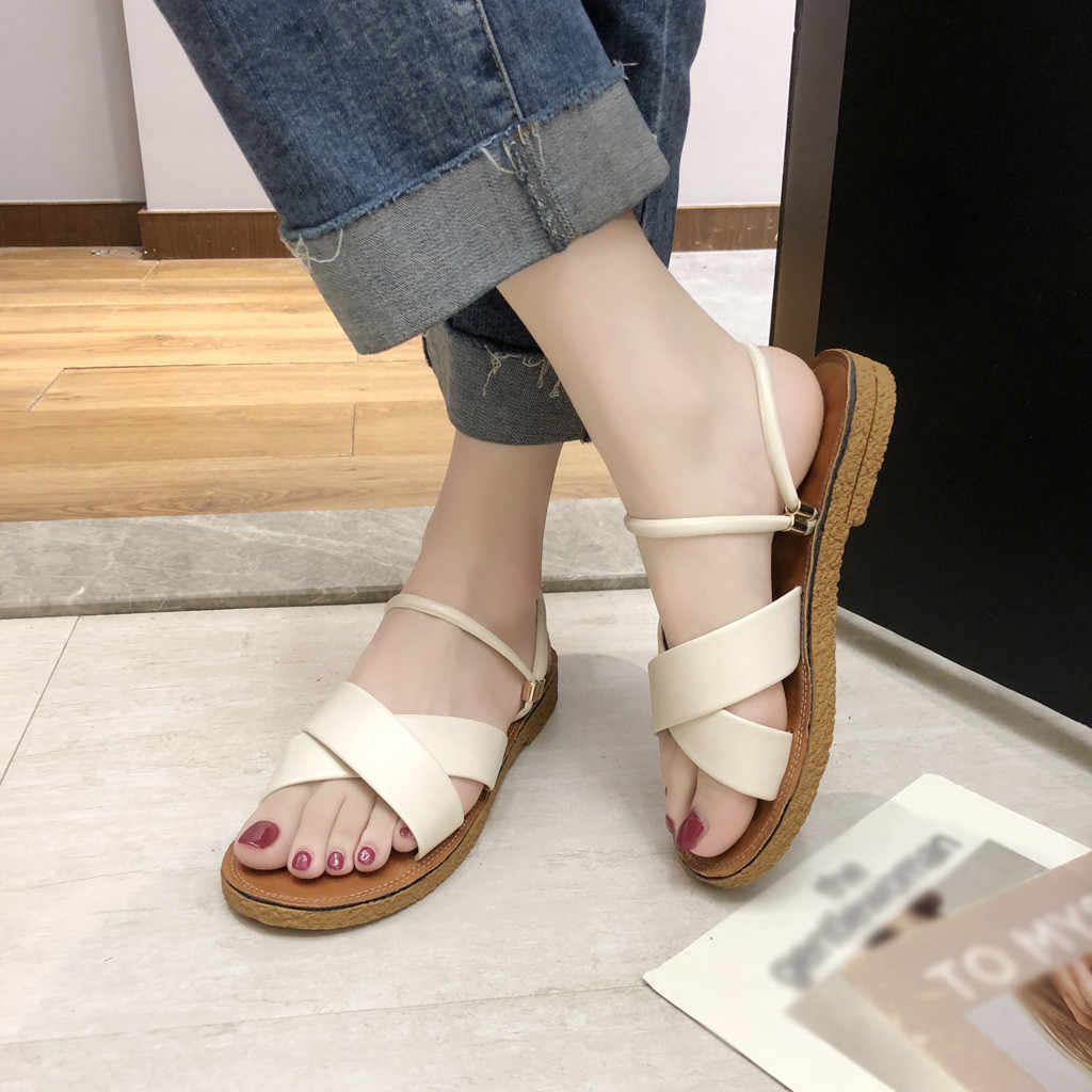 SAGACE   Women Sandals Summer Roman Solid  Sewing Women Shoes Plat Heel  Vintage Retro Roman Scandals Women Summer  For Beach